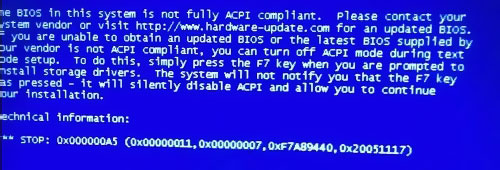 The BIOS in this system is not fully ACPI compliant